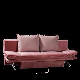 Restyl Sofa Mona mit integriertem Bettkasten ausklappbar rosa Stoffbezug aus der Stoffgruppe 55 und 2 große Rückenkissen inkl. verstellbare Armteile per Rasterfunktion