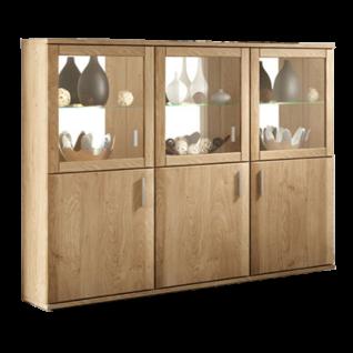 Stralsunder Wiek Highboardkombination B106 dreiteilig mit drei Türen und drei Glastüren Kommode für Wohnzimmer und Esszimmer Dekor Rückwandspiegel und Beleuchtung wählbar