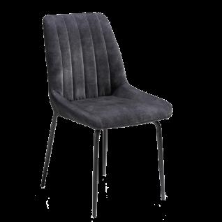 Habufa Polsterstuhl Remon 36683 mit Griff Bezug Sitzschale in Karese anthrazit 4-Fuß-Gestell schwarz