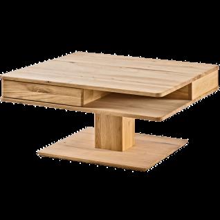 Woodlive Couchtisch Quadro Wildeiche Massivholz geölt Art.Nr. 52011000 Tischplatte quadratisch inkl. 2 Schubkästen Beistelltisch für Ihr Wohnzimmer
