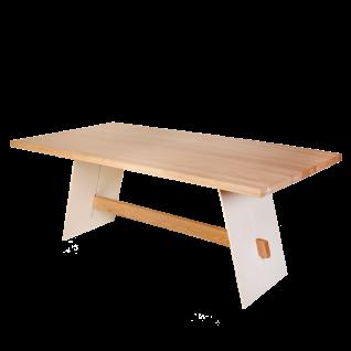Standard Furniture Esstisch Aladin mit fester Tischplatte aus Massivholz Eiche bianco Wangen weiß abgesetzt Tisch für Küche und Esszimmer