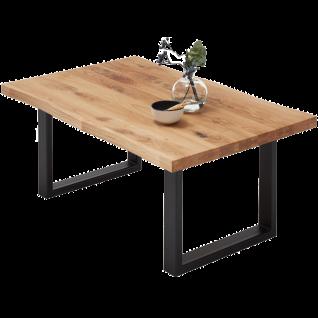 MCA furniture Couchtisch Havanna Art.Nr 58733EI8 Asteiche Massivholz geölt keilverzinkt Baumkantenoptik Kufengestell Metall Schwarz pulverbeschichtet