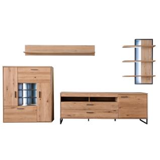 MCA Furniture Portland Wohnkombination 2 für Ihr Wohnzimmer 4-teilige Wohnwand im industrial Look mit Highboard Lowboard Wandregal und Wandboard Kombination in Asteiche bianco teilmassiv mit Fronten aus Massivholz und mit Absetzungen in Anthrazit lackiert