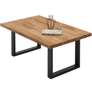 MCA furniture Couchtisch Aruba Art.Nr. 58731EI8 Eiche Massivholz geölt keilverzinkt Kante gerade Kufengestell Metall Schwarz pulverbeschichtet