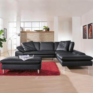 Willi Schillig Ecksofa Loop 29858 kombiniert mit einem exklusiven Hocker für ein einzigartiges Sitzgefühl im eleganten Design mit einem hochwertigen Echtlederbezug in der Farbe schwarz Z59/99 - Vorschau 2