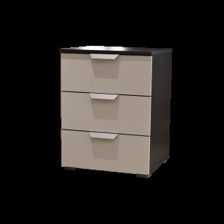 Rauch Packs Aditio Nachttisch mit 3 Schubkästen Korpusausführung grau-metallic Frontausführung Dekor seidengrau Griffausführung alufarben