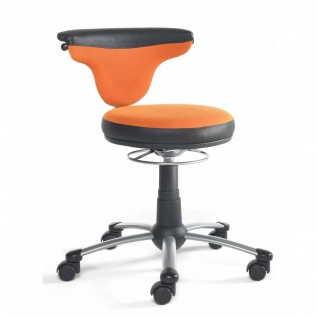 Mayer Sitzmöbel Funktionsdrehstuhl myTorro 1251-339 Bezug zweifarbig orange/ schwarz 360 Grad drehbar Gestell perlsilber