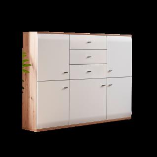 Stralsunder Breege Highboard B15071 mit fünf Türen und 3 Schubkästen für Ihr Wohnzimmer oder Esszimmer Dekor Alteiche Nachbildung und Tonweiß