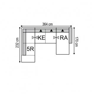 K+W Polstermöbel Wohnlandschaft Melody 7266 in U-Form inklusive Sitztiefenverstellung und zwei Kopfstützen mit einem verchromten Blitzfuß - Vorschau 5