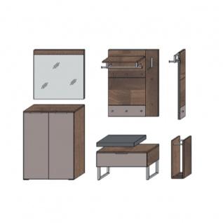 Wittenbreder Novara Garderobenkombination Nr. 06 komplette Garderobe für Ihren Flur und Eingangsbereich 8-teilige Vorschlagskombination im Nussbaum und Hellbraun Glas Griffe und Metallteile Chrom - Vorschau 3