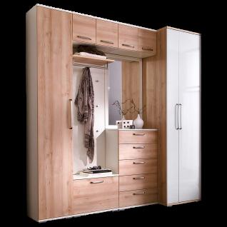 Wittenbreder Roubaix Garderobenkombination Nr. 14 komplette Garderobe für Ihren Flur und Eingangsbereich 8-teilige Vorschlagskombination im Dekor Edelbuche und Weiß matt bzw. Hochglanz
