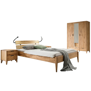 Skalik Meble Mido Schlafzimmer Bett mit Kopfteil 2 Nachtkommoden und Kleiderschrank Front und Korpus Eiche Massivholz Natur geölt