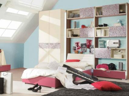 Rudolf str8.up Kinderzimmer und Jugendzimmer komplett in Cremeweiß mit Absetzfarbe Lack Himbeere und Hochglanz Bamboo