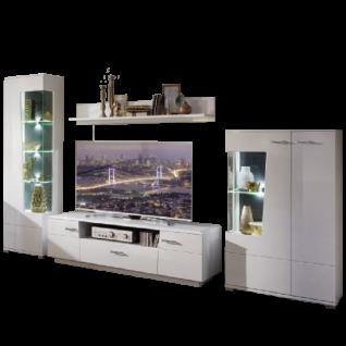 Wohn-Concept Alibaba Wohnwand 40 88 WW 80 moderne vierteilige Wohnkombination mit Lowboard Wandboard und zwei Vitrinen Wohnlösung in Weiß Hochglanz und Weiß matt mit Absetzungen in Terra Grau Hochglanz MDF mit Diamant-Effekt Beleuchtung wählbar