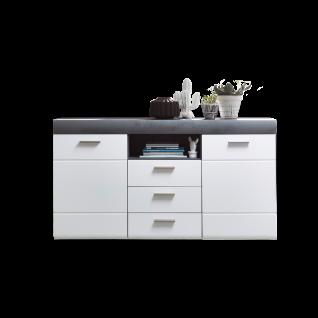 Wohn-Concept Paris Sideboard 40 58 WT 20 moderne Kommode mit Türen Schubkästen und offenem Fach in Weiß matt Perfect Touch und Betonoxid dunkel Nachbildung für Wohnzimmer oder Esszimmer