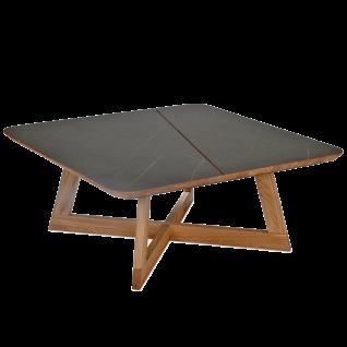 Vierhaus Couchtisch 7891-MMN Kreuzgestell aus Massivholz Wildeiche geölt Tischplatte aus HPL in Marmoroptik Nero