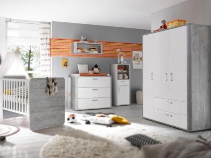 Mäusbacher Frieda Kinderzimmer im Dekor vintage wood grey und weiß matt lack Babyzimmer 5-teilige Kombination mit 1 Babybett 1 Wickelkommode 1 Kleiderschrank 1 Beistellschrank und 1 Hängeregal