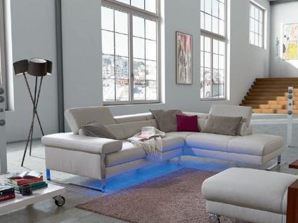 Willi Schillig Sofa mit Beleuchtung Finn 20974 Kombination bestehend aus Sofa und Ecksofa mit Hockerabschluss inkl. LED Beleuchtung cremeweißer Lederbezug Z73_43 chromglänzendes Metall-Seitengestell