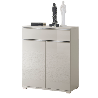 Staud Möbel Rubin Türenkommode mit 1 Schubkasten und 2 Türen Korpus in Dekor Front vollverglast Farbe wählbar Griffleisten und Füße chromfarbig - Vorschau 3