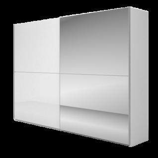Nolte Möbel Concept Me 310 Schwebetürenschrank mit einer waagerechten Türsprosse Ausführung 1 Front in Nussbaum-Nachbildung Ristretto Spiegel oder mit Glasauflage ohne Regal