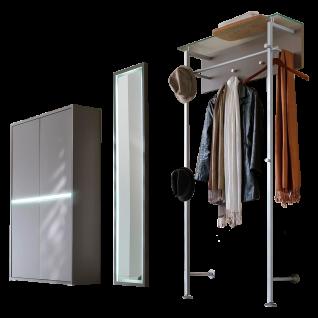 Wittenbreder Merano Garderobenkombination Nr. 05 komplette Garderobe für Ihren Flur und Eingangsbereich 3-teilige Vorschlagskombination mit Beleuchtung in Basalt Lack matt kombiniert mit Basalt Glas mattiert Metallelemente in matt