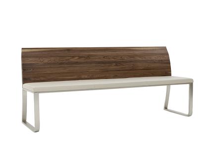 Wimmer Saverne Sitzbank mit Rückenlehne aus Massivholz Sitzfläche fest gepolstert Untergestell aus Metall für Esszimmer und Küche