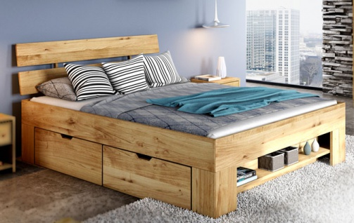 ELFO Futonliege SARAH mit Kopfteil Wildeiche Massivholz mit 4 Bettkästen auf Rollen Zubehör optional Futonbett mit Fußteilregal viel Stauraum für Ihr Schlafzimmer