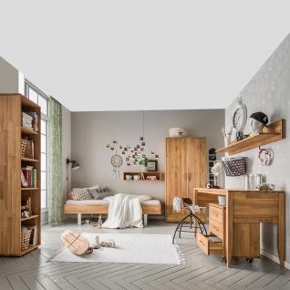 Skalik Meble Mido Jugendzimmer Bett Kleiderschrank Schreibtisch Rollcontainer Front und Korpus Eiche Massivholz Natur geölt - Vorschau 2