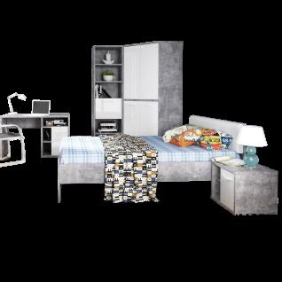 Forte Canmore Jugendzimmer 5-teilig mit Bett Liegefläche ca. 120x200cm Nachttisch Eck-Kleiderschrank Regal und Schreibtisch Jugendzimmer-Set mit Korpus in Betonoptik Lichtgrau und Front in Weiß Hochglanz Dekor