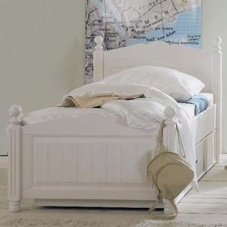Schlafkontor Cinderella Premium Kinderbett Korpus und Front in Kiefer massiv weiß lackiert Korpus innen Melamin Nachtkommoden und Bettkasten otional dazu wählbar
