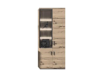 IDEAL-Möbel Vitrine Lara Type 73 moderne Hochvitrine für Ihr Wohnzimmer mit 3 Holztüren und 1 Glastür Korpus Grandson Eiche Melamin Front Grandson Eiche Folie tiefgezogen mit Alu-Rahmen - Vorschau