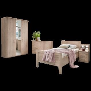 Wiemann Valencia Komfort-Stollenbett Nachtschrank mit Paneel in Steineiche-Nachbildung Liegefläche wählbar optional mit Kommoden und Schrank