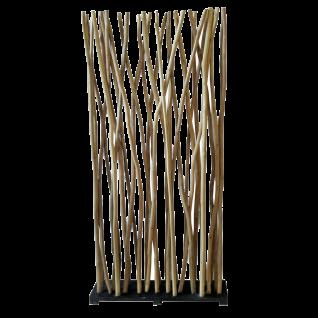 Sit Möbel ROMANTEAKA Paravent recyceltes Altholz Äste Natur Bodenplatte schwarz