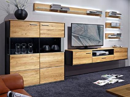 Schröder Vita Plus Wohnkombination K003 teilmassive Wohnkombination sechsteilig mit Highboard Hängeelement als TV-Schrank und vier Wandboarden für Wohnzimmer oder Ferienwohnung Beleuchtung wählbar