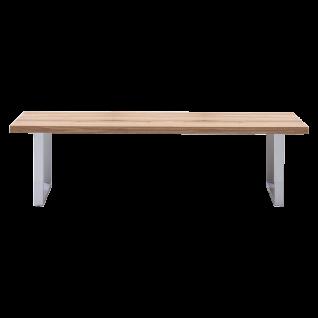 Elfo-Möbel Sitzbank 2557 in Massivholz Eiche naturbelassen geölt mit durchgehender Lamelle und edelstahlfarbene Metallfüße im U-Profil