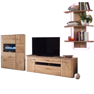 MCA Furniture Buffalo BUF52W03 Wohnkombination 3 für Ihr Wohnzimmer 3-teilige Wohnwand Front Balkeneiche Bianco Korpus Eiche Bianco Melamin Nachbildung