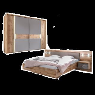 Schlafkontor Milano Schlafzimmerset 2-teilig bestehend aus einem Bett mit Paneel-Nachtkommoden inkl. Beleuchtung ein Schwebetüren-Kombischrank 2 Schwebetüren 2 Drehtüren optional mit Passepartout
