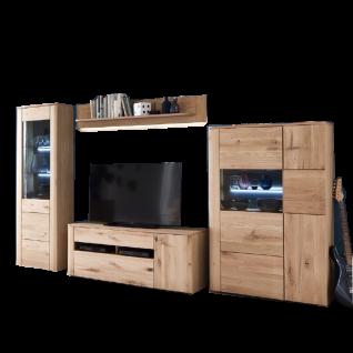 MCA Furniture Buffalo BUF52W01 Wohnkombination 1 für Ihr Wohnzimmer 4-teilige Wohnwand Front Balkeneiche Bianco Korpus Eiche Bianco Melamin Nachbildung