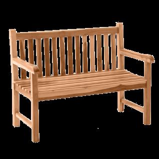 Möbilia Gartenmöbel stabile Gartenbank mit Rücken- und Armlehnen aus Teakholz massiv Sitzbank für Balkon und Garten