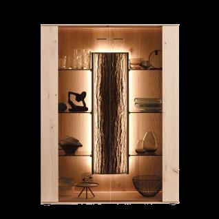 Hartmann Runa Vitrine 7101 mit Glastüren Standelement aus Massivholz Kerneiche natur gebürstet mit Applikation Rinde Beleuchtung wählbar