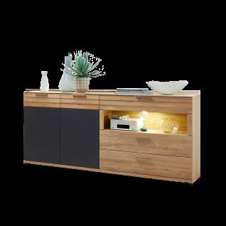 Wohn-Concept Achat Sideboard 45 06 HH 20 mit zwei Türen drei Schubkästen und einem offenen Fach Kommode für Ihr Wohnzimmer oder Esszimmer in Wildeiche teilmassiv mit Absetzung in Lack Laminat Graphit inkl. LED-Beleuchtung