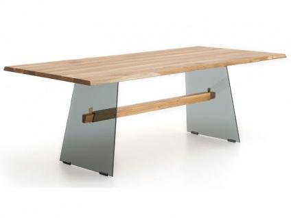 Wimmer Zweigl Wangenesstisch Z22 mit Glaswangen Tischplatte Massivholz geölt Tischplattenausführung Größe Kantenprofiltyp Ansteckplatte und Ansteckplattentyp wählbar Tisch für Ihre Küche oder Ihr Esszimmer