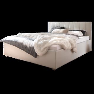 Meise Möbel Polsterbett MyLife mit Kunstlederbezug in weiss Kopfteilvariante 2 mit senkrechten Steppnähten und aufgesetzter Kissenoptik am Kopfteil Metallfüsse eckig in Chromoptik Liegefläche wählbar
