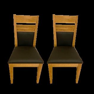 Elfo-Möbel Lola Stuhl 2er-Set in Eiche Massivholz geölt mit Sitzpolster in Kunstleder schwarz für Ihr Esszimmer