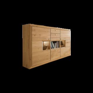 Wöstmann Highboard Aurum Highboard in Wildeiche Massivholz soft gebürstet für Wohnzimmer oder Esszimmer mit Schubkästen und Glasausschnitten Beleuchtung wählbar