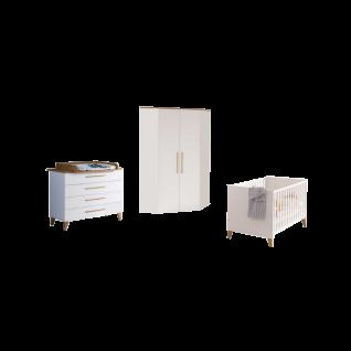 Paidi Oscar Babyzimmer 4-teilig bestehend aus Kinderbett mit Airwell Comfort Lattenrost Eck-Kleiderschrank 2T Kommode mit Wickelaufsatz