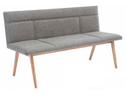 Standard Furniture Sitzbank Arona Polsterbank mit Massivholzgestell Bank Alina mit aufwendiger Steppung für Esszimmer oder Küche in drei Holzausführungen Bezug und Länge wählbar