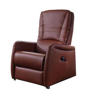 Hukla Relaxsessel AP02 in dunkelrotem Echtlederbezug mit manueller Kopfpolsterverstellung auf drehbaren Doppelrollen bis maximal 110 kg Belastbarkeit