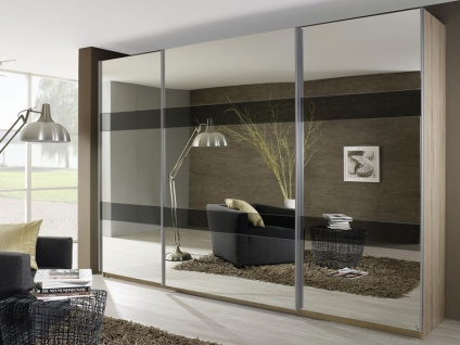 Rauch Select Kiano Schwebetürenschrank Front Spiegel und Streifen Grauspiegel Korpus und Griff wählbar Kleiderschrank