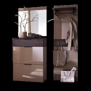 Wittenbreder Novara Garderobenkombination Nr. 14 komplette Garderobe für Ihren Flur und Eingangsbereich 3-teilige Vorschlagskombination im Räuchereiche und Hellbraun Glas Griffe und Metallteile in Schwarz